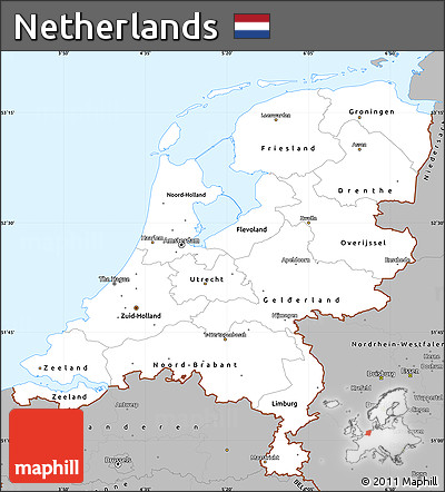 free gray simple map of netherlands