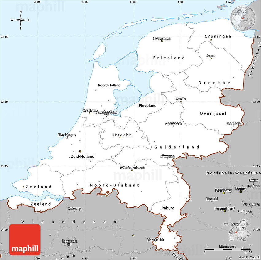 gray simple map of netherlands