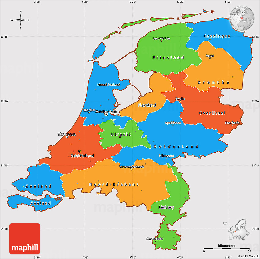 Political Simple Map of Netherlands cropped outside