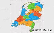 Political Simple Map of Netherlands, cropped outside