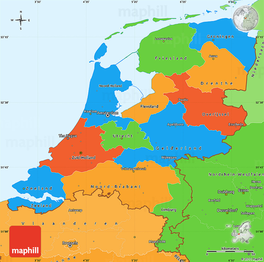 Political Simple Map of Netherlands political shades