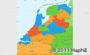 Political Simple Map of Netherlands, political shades outside