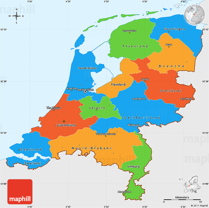 political simple map of netherlands single color outside