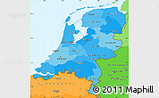 Political Shades Simple Map of Netherlands