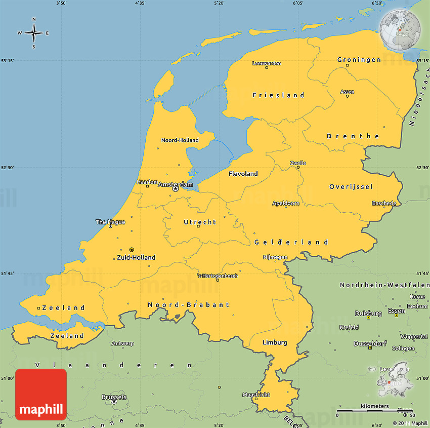 Savanna Style Simple Map Of Netherlands - Netherlands map