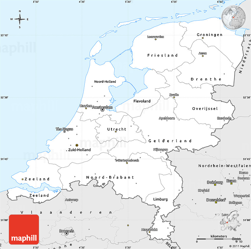 silver style simple map of netherlands