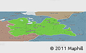 Political Panoramic Map of Utrecht, semi-desaturated