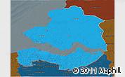 Political 3D Map of Zeeland, darken