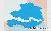 Political 3D Map of Zeeland, lighten