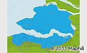 Political 3D Map of Zeeland, physical outside