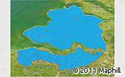 Political 3D Map of Zeeland, satellite outside