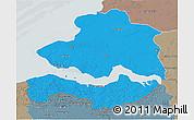 Political 3D Map of Zeeland, semi-desaturated