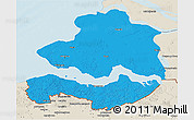 Political 3D Map of Zeeland, shaded relief outside