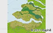 Satellite Map of Zeeland, physical outside
