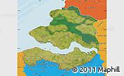 Satellite Map of Zeeland, political outside