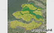 Satellite Map of Zeeland, semi-desaturated