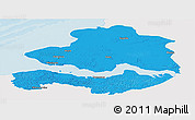 Political Panoramic Map of Zeeland, single color outside