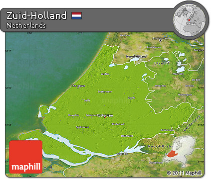 Free Physical Map of ZuidHolland satellite outside