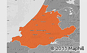 Political Map of Zuid-Holland, desaturated
