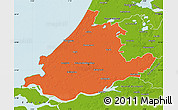 Political Map of Zuid-Holland, physical outside
