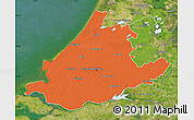 Political Map of Zuid-Holland, satellite outside