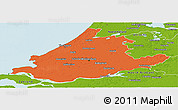 Political Panoramic Map of Zuid-Holland, physical outside