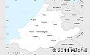 Silver Style Simple Map of Zuid-Holland