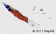 Flag 3D Map of New Caledonia, flag rotated