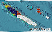 Flag 3D Map of New Caledonia, satellite outside