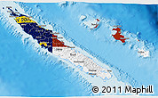 Flag 3D Map of New Caledonia, shaded relief outside