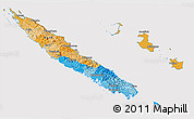 Political 3D Map of New Caledonia, cropped outside