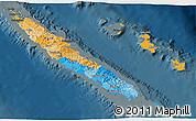 Political 3D Map of New Caledonia, darken