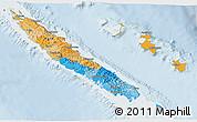 Political 3D Map of New Caledonia, lighten