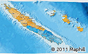 Political 3D Map of New Caledonia, satellite outside, bathymetry sea