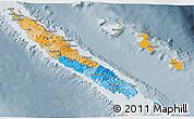 Political 3D Map of New Caledonia, semi-desaturated