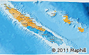 Political 3D Map of New Caledonia, shaded relief outside, bathymetry sea