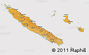 Political Shades 3D Map of New Caledonia, cropped outside