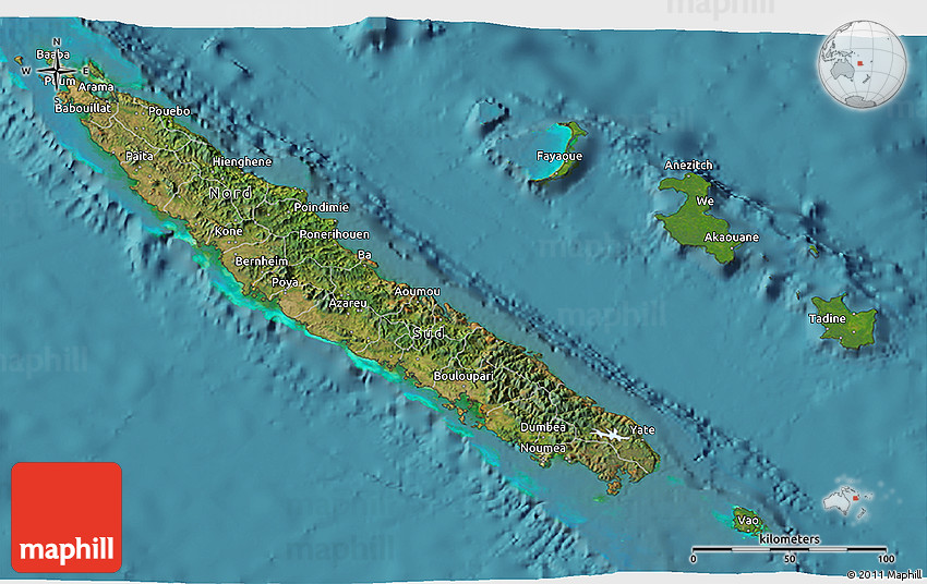 Satellite 3D Map of New Caledonia