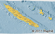 Savanna Style 3D Map of New Caledonia, single color outside