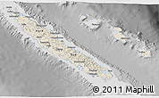 Shaded Relief 3D Map of New Caledonia, desaturated