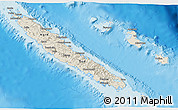 Shaded Relief 3D Map of New Caledonia, political shades outside, shaded relief sea