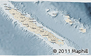 Shaded Relief 3D Map of New Caledonia, semi-desaturated