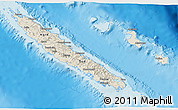 Shaded Relief 3D Map of New Caledonia, single color outside