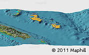 Political Shades Panoramic Map of Îles Loyauté, satellite outside