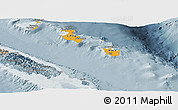 Political Shades Panoramic Map of Îles Loyauté, semi-desaturated