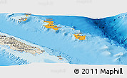 Political Shades Panoramic Map of Îles Loyauté, shaded relief outside