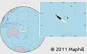 Flag Location Map of New Caledonia, gray outside