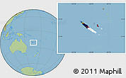 Flag Location Map of New Caledonia, savanna style outside
