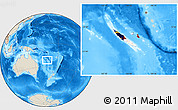Flag Location Map of New Caledonia, shaded relief outside