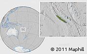 Satellite Location Map of New Caledonia, lighten, desaturated
